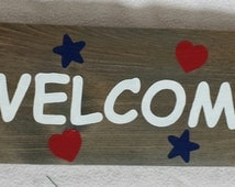 Popular items for patriotic wall decor on etsy for Patriotic welcome home decorations