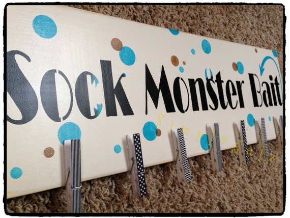 Items Similar To Sock Monster Bait Hand Painted Wood Sign Laundry Room Decor Fun Home Decor Housewares On Etsy