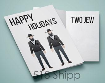 Happy Holidays Two Jew Card - Passover Hanukkah Hebrew Israel
