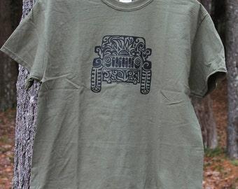 JEEP Tribal Tattoo T-Shirt  - Military Green
