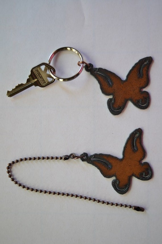 Rustic Rusty Rusted Recycled Metal Charm WHIMSICAL BUTTERFLY