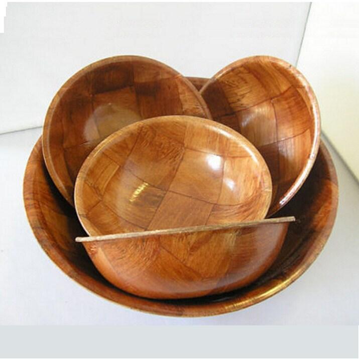 Vintage Large Wooden Bowl 4 Small Bowls Salad Fruit Bread Mid