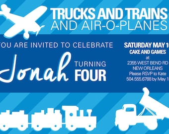 Trucks Trains Airplanes Toddler Boy Birthday Invitation