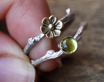 Fairy Princess Twig Ring Set, Blossom Twig Ring in Sterling Silver & Green Peridot Gemstone Branch Ring, August Birthstone Ring, Branch Ring