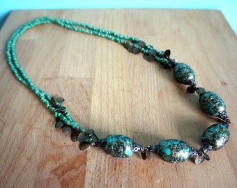 Mint Green and Copper Leaf Bollywood inspired Necklace