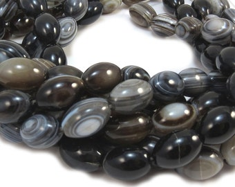 Black Striped Agate Beads, 15 inch Strand, 14x12 Oval Beads, 14mm Black Beads, Beading Supplies, Designer Quality, Item 415ag