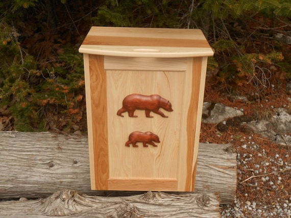 Solid Hickory Kitchen Trash Container with 2- 3d Bear carvings on the front panel. Ideal for log home or cabin decor.