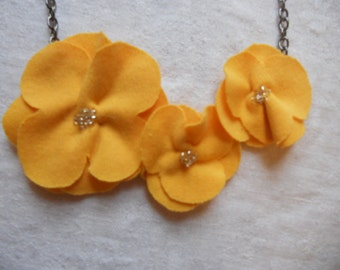 Fabric flower necklace on metal chain