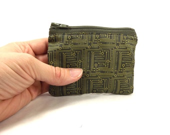 circuit board pouch, computer wallet, motherboard zipper pouch, circuit wallet, change purse, circuit coin purse, lunch money pouch