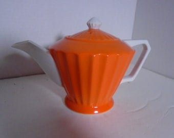 Vintage Orange and White Teapot - Japan