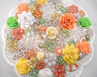 65 pc DIY Bridal Brooch Jewelry Bouquet CITRUS GROVE kit Yellow Orange Lime Green Silver Wedding Decorations Corsage Supplies