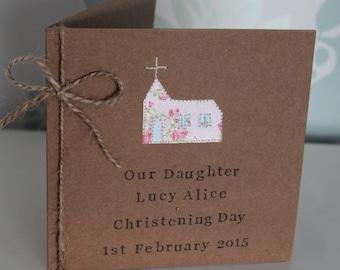Personalised Christening Card, Handmade Christening Card for Baby Girl