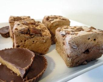 Chocolate Peanut Butter Marshmallows - Reese's Peanut Butter Cups - 1 dozen Gourmet homemade marshmallows