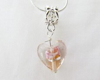 """Sweetheart Girls Pink Lampwork Heart 17"""" Necklace (N103)"""