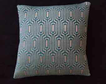 "Mid Century Modern style - turquoise blue and cream Accent throw Pillow -  17"" x 17"" feather/down"