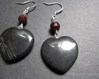 Onyx Heart Earrings with Garnet