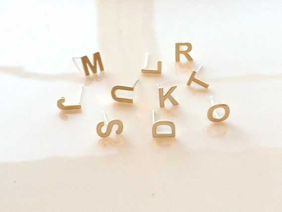 gold initial stud earrings  alphabet earring post  14k gold plated  925 sterling silver posts