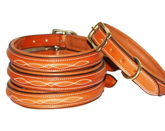 Half raised, fancy stitched leather dog collar made from high quality soft Norwegian leather with solid brass fittings, lined and padded