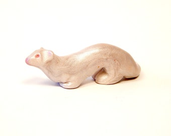 Crouching Albino Ferret Figurine, Hand-Sculpted in Polymer Clay