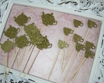 Teapot & Teacup Cupcake Toppers, Baby Shower, Favors, Party Picks, Gold Glitter Decorations, Tea Party, Tea Time, Bridal Shower - Set of 15