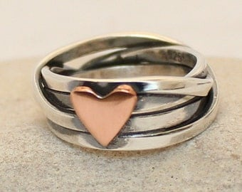 Sterling Silver Ring with heart. Anniversary Gift Ring..  Love Ring..