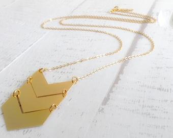 Chevron Necklace, Long Necklace, Bridesmaids Gift Ideas, Geometric Necklace, Long Necklace, Gold Necklace