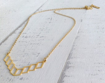 Rhomboids Necklace,Tiny  Necklace, Gold Necklace, Dainty Necklace, Geometric Necklace, Geometric Jewelry, Minimalist Jewelry