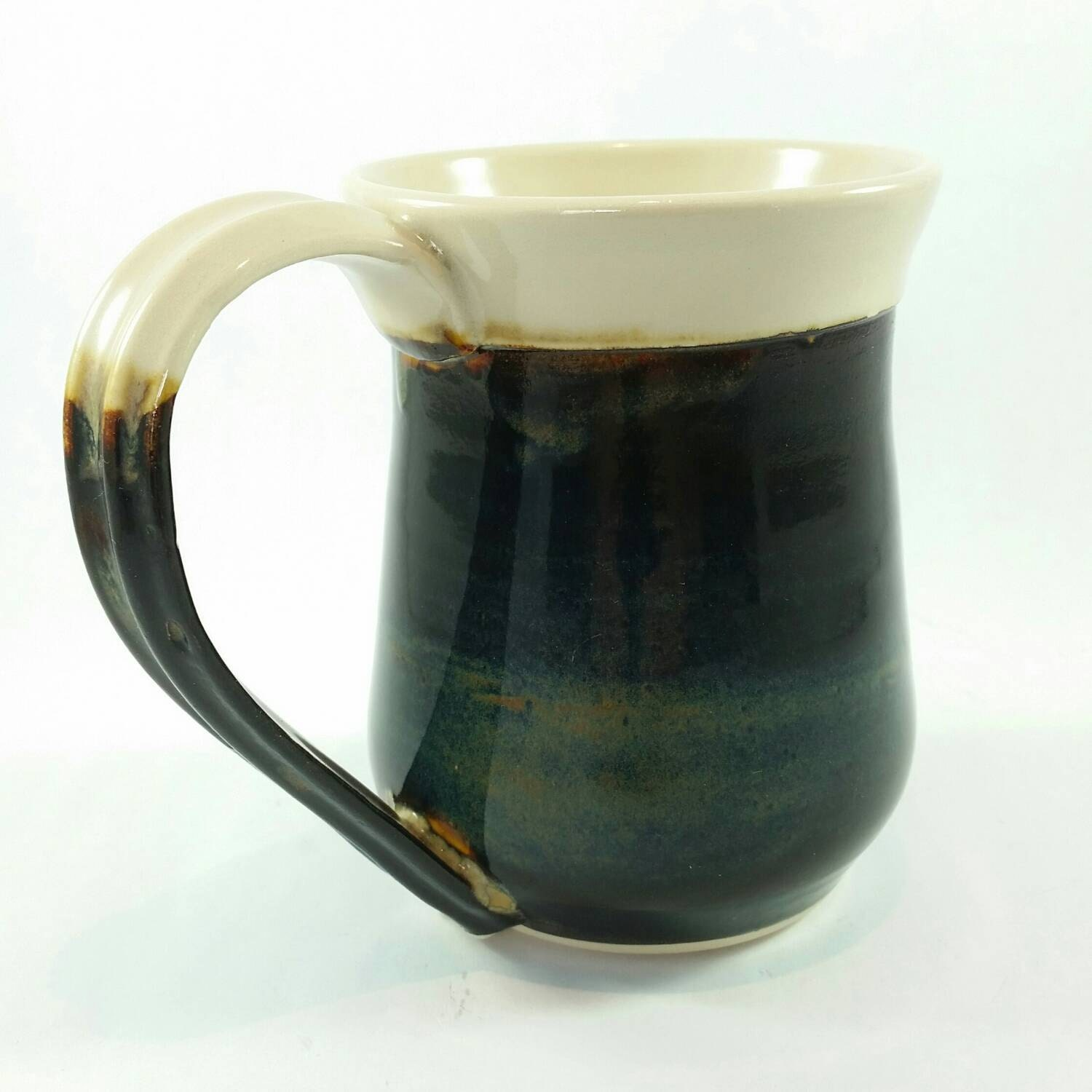 "VINTAGE 5.75""h BROWN & WHITE HANDLED POTTERY STONEWARE ... 