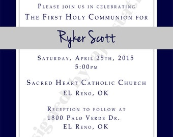 1st Communion Invitation Boy with Simple Cross choose your color  PREMIUM PRINTING (5x7) QTY 15