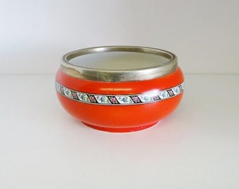 Vintage Red Bowl Art Deco With Flower Decoration And Silver Plated Rim By Newport Pottery Co. Burslem Circa 1930s