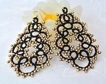 Black and gold chandelier tatted earrings | beaded earrings made in Italy | black lace jewelry| frivolite | lightweight earrings