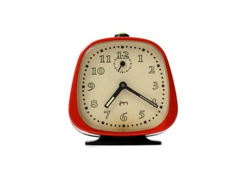 Retro alarm clock Japy vintage French clock red home decor