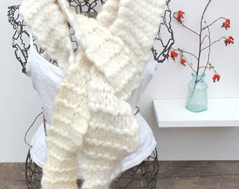 One of a Kind Funky Knit Felted Scarf KABotany Exclusive Chunky Felted Scarf Undyed Off-white Wool Scarf Natural Wool Top Roving Scarf