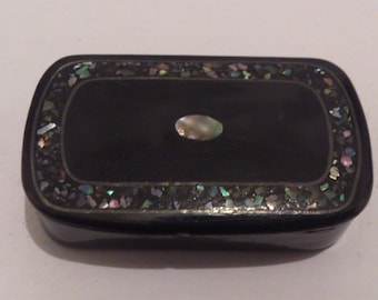 Tiny Antique papier mache snuff box with mother of pearl
