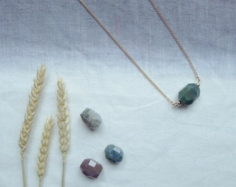 Jasper - elegant stone necklace with semi precious jasper stone. Minimal necklace on long gold or silver chain.