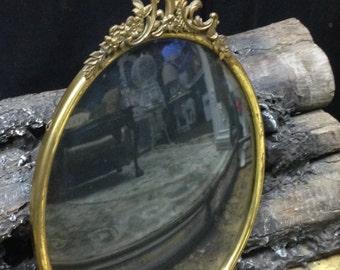 Antique Victorian Brass Ornate Picture Photo Frame   Baroque Repousse Deco Convex Glass   Art Nouveau   American Convex Company