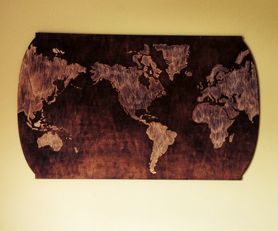 Carved world map wood wall decor