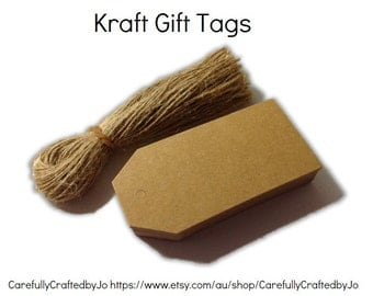 25, 50, 100 Large Kraft Gift Tags Die Cut&Twines-DIYGift Tags-Perfect for wedding, baby shower favours,gift tags,goodie bag tags, price tags