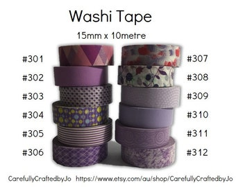 Washi Tape - Purple - 15mm x 10 metres - High Quality Masking Tape