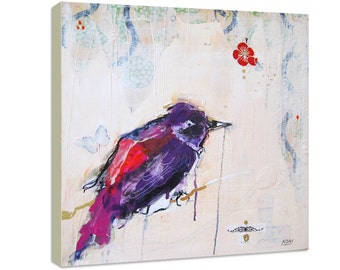 Serene, purple song bird sits on a branch, in this sumptuos canvas bird print.