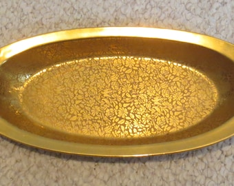 Vintage Wheeling Decorating 24kt Gold Overlay Patterned Dish