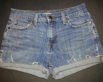 Vintage LEVI'S 515 Light Blue High Waisted Cut Offs Cuffed Denim Jean Shorts W 28