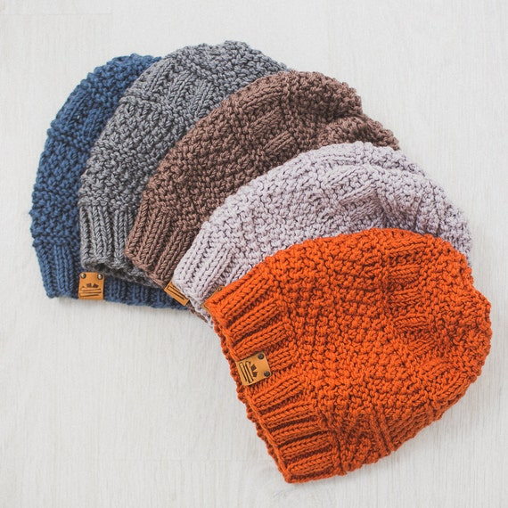 Free Knitting Pattern Beanie : Mens Knit Hat / Knitted Beanie / Wool Merino Hat by MrPomPon