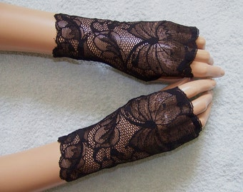 Holidays,Short, Romantic, Gothic, Fingerless Gloves, Black, Lace, Elegant, Victorian, Mittens with Thumb Hole IDEAL for HER