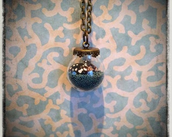 Teal Ocean- small glass globe necklace