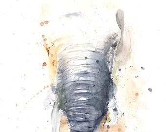 ELEPHANT WATERCOLOR - elephant painting, elephant lover, elephant gift, elephant art print, elephant artwork, elephant portrait
