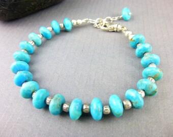 Arizona Turquoise Chakra Bracelet, Opens Throat Chakra, Kingman Turquoise Bracelet, December Birthstone, Healing Chakra Energy Jewelry