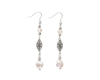Isolt Pearl Drop Earrings; for Undying Love | made  with Pearl and Pyrite/ Pearl Drop Earrings/ Pearl Earrings/ Christmas gifts for wife