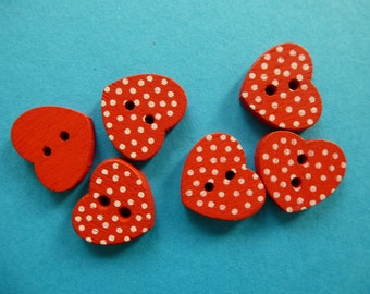 Wooden heart buttons with dots.  Set of 12