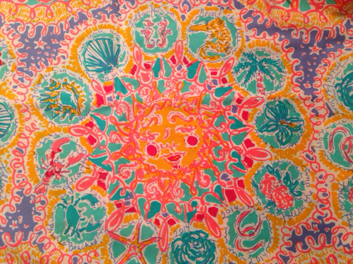 Lilly Pulitzer Fabric 3 Square Patches Of Lilly Pulitzer Fabric Written In The Sun